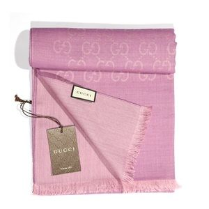 Gucci GG Jaucquard Pattern Knitted Scarf Lilac